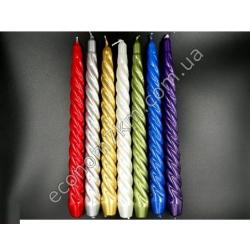 S2097 Свечи металлик крученые цветные (26 см)