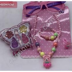 S3169 Набор бижутерии для девочки (очки, косметика, бусы, браслет, кольцо) на планшете 4059-10