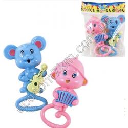 S3217 Погремушка 15 см 2 шт. (мышка, обезьянка) в кульке (15 х 20 х 5 см) 665-666