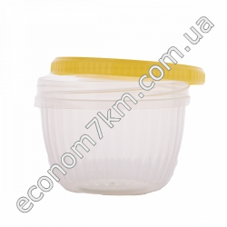 S3107 Судочек круглый прозрачный пластик (винтовая крышка) (11 х 11 х 8 см) 0,5 л