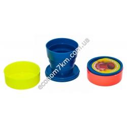 S33 Раскладной пластмассовый стакан на рыбалку, дорожный (100 мл) (Ø7 х 6,5 х 3 см)