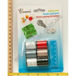 S755 Набор: 4 нитки + иголки + сантиметре + пуговицы